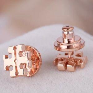 Tory Burch rose gold logo stud earrings